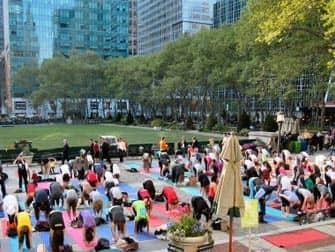Yoga in Bryant Park in New York