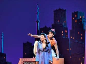 Aladdin en Jasim bij Broadway in New York
