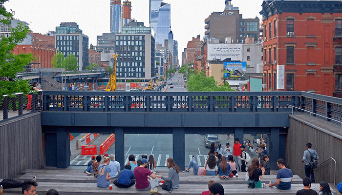 High Line Park in New York - Trappen