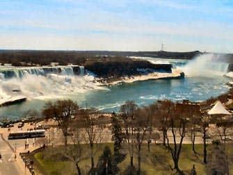 Niagarawattervallen zowel de Amerikaanse en Canadese kant