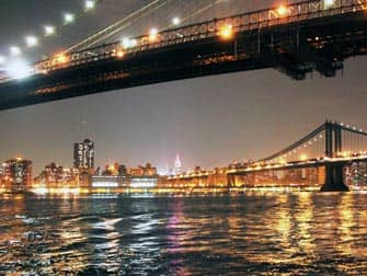 Parken in New York - Brooklyn Bridge 's avonds