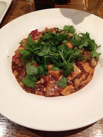 koriander tofu en shiitake in koude saus bij wild ginger in new york