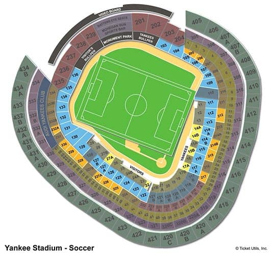 New York City FC Tickets Kopen - Yankee Stadium Plattegrond