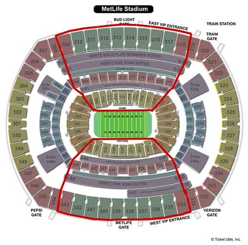 New York Giants - MetLife Stadium Plattegrond