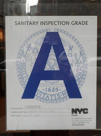 Hygiëne in restaurants in New York - Grade A