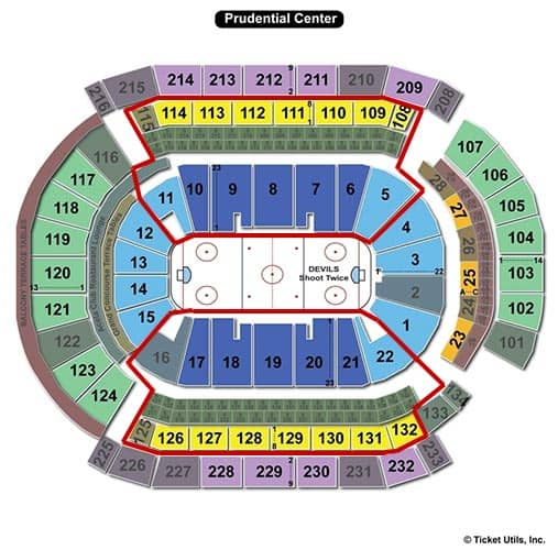 New Jersey Devils - Prudential Center Plattegrond