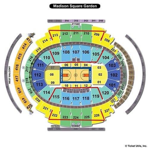 New York Knicks - Madison Square Garden Plattegrond