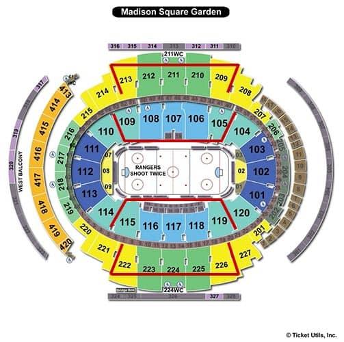 New York Rangers - Madison Square Garden Plattegrond