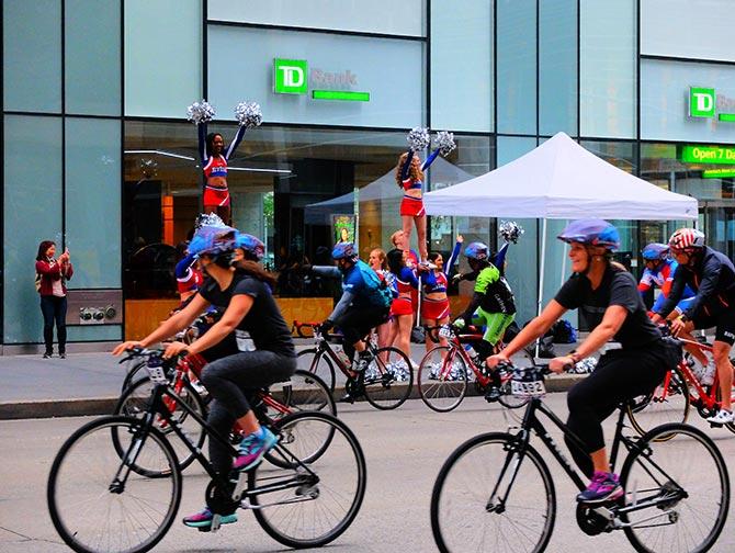 New York Five Boro Bike Tour - Cheerleaders