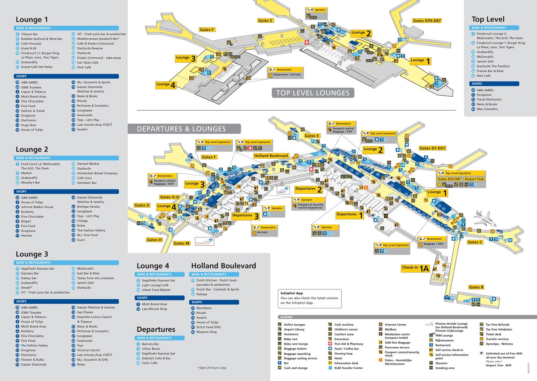 Vlucht Amsterdam - New York - Plattegrond Schiphol